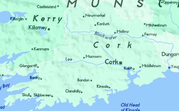 Detailed Map of County Cork Ireland