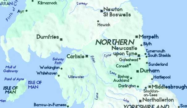 Map Of England Northumbria.Detailed Map Of Cumbria And Northumbria