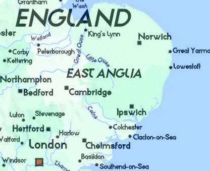 Map Of East Uk.Detailed Map Of East Anglia Bedfordshire Cambridgeshire Essex