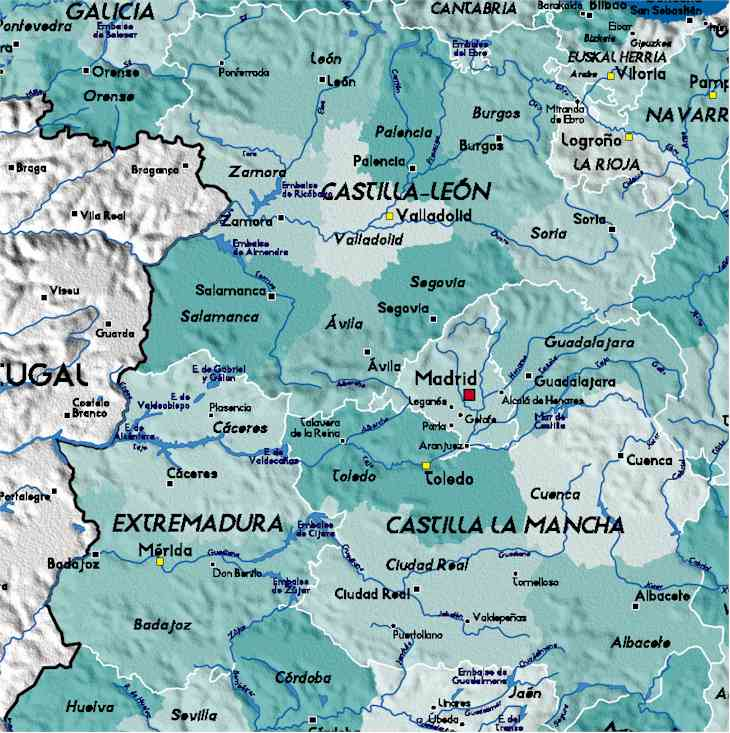 Map Of Spain Detailed.Detailed Map Of Central Spain