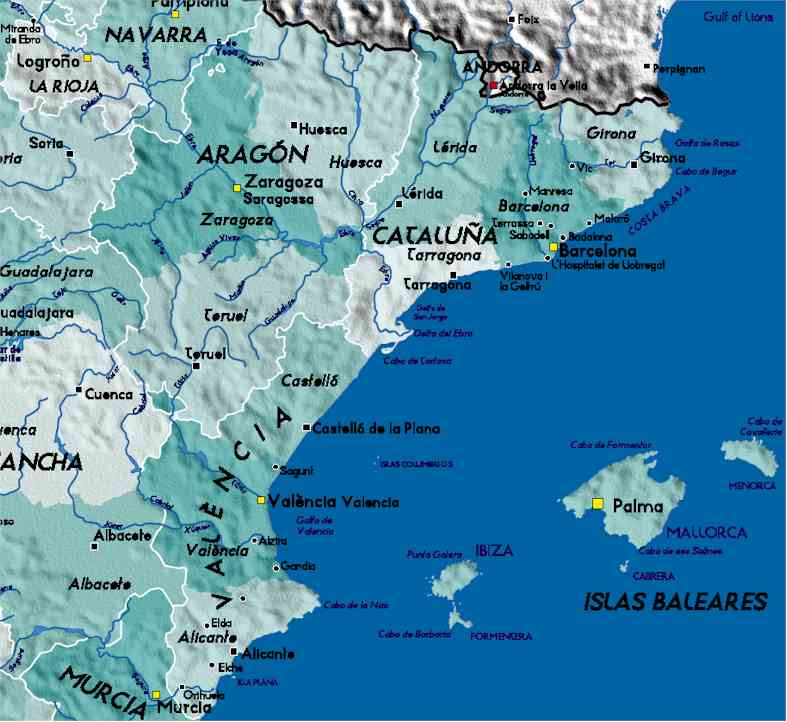 Detailed Map of Eastern Spain
