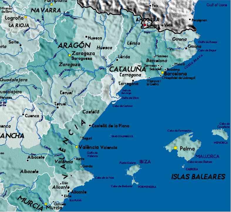 detailed map of eastern spain