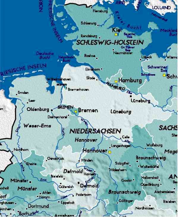 detailed map of north germany