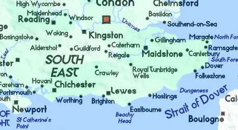 Guilford England Map.Detailed Map Of South East England Surrey Kent East Sussex West