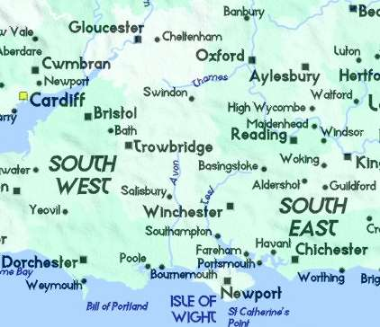 detailed map of south east england surrey kent east sussex west sussex