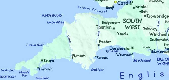 Detailed Map of West Country Cornwall Devon Somerset Wiltshire