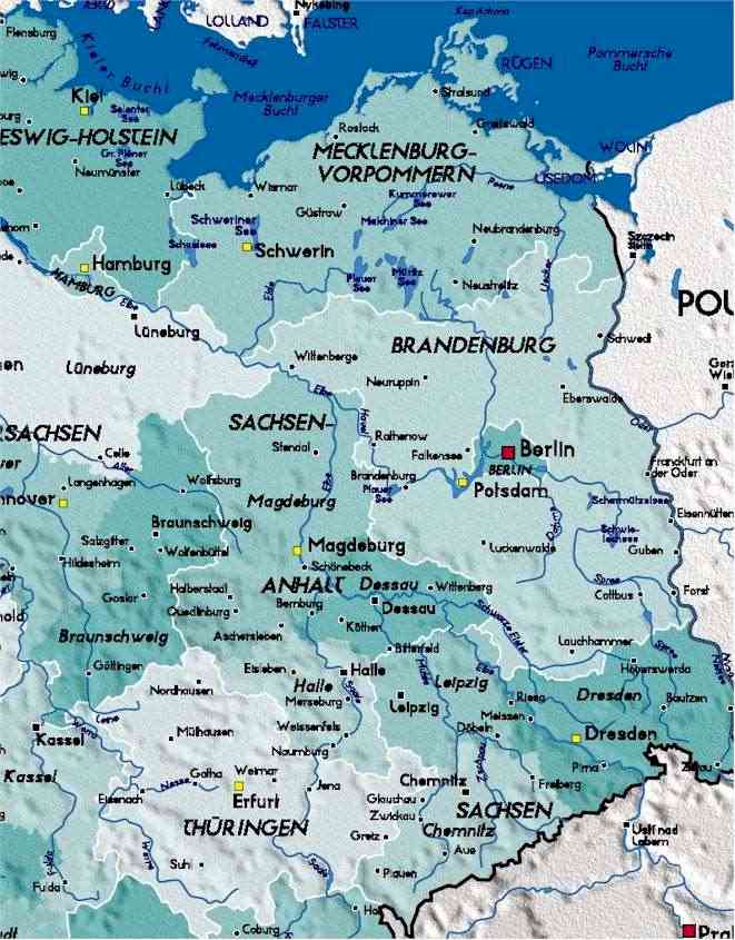 East Germany Map Detailed Map of East Germany East Germany Map